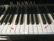一点ハから二点ハの鍵盤の位置