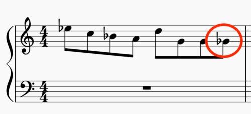下降形のフレーズ フラット表記